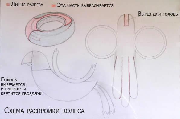 Схема как сделать лебедя из покрышки схема