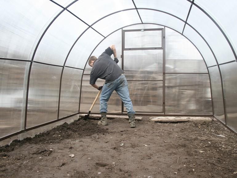 Обработка почвы в теплице