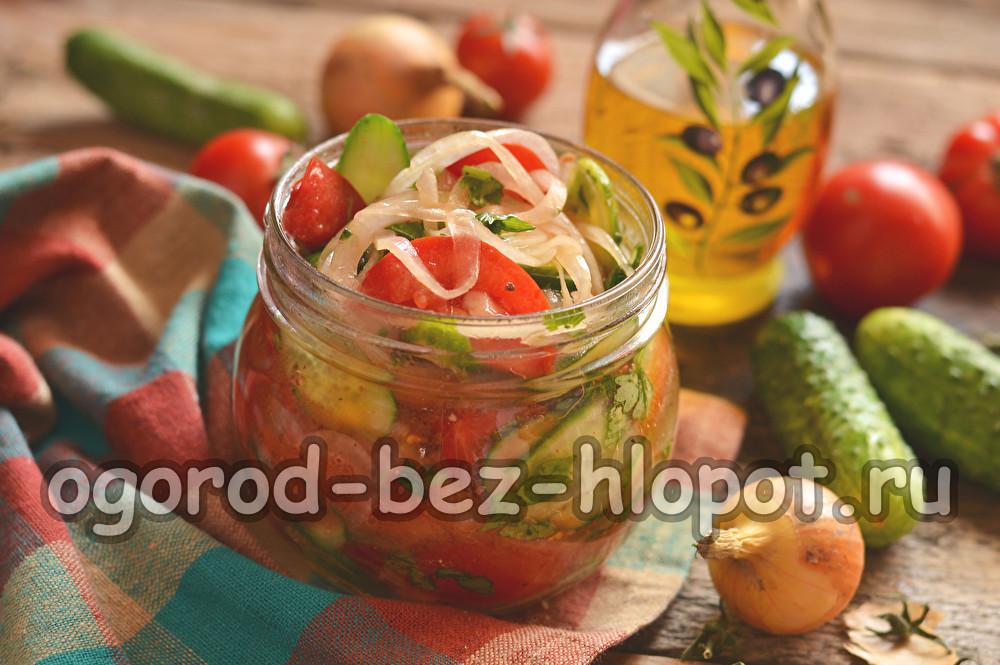 """Салат из огурцов и помидоров на зиму """"Пальчики оближешь"""""""