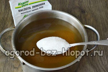 слить воду и приготовить сироп