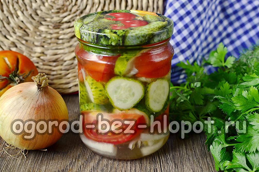 Салат из огурцов и помидор на зиму Пальчики оближешь