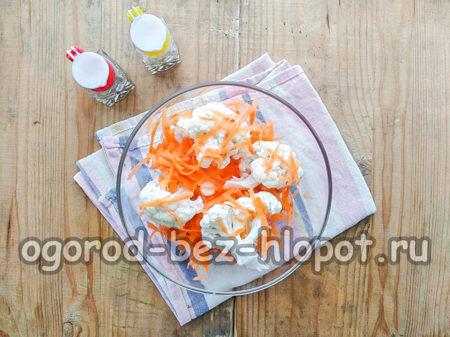 смешать капусту, морковь, чеснок