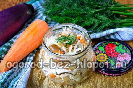 баклажаны с капустой готовы