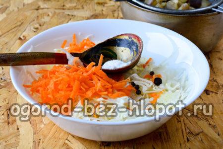 капусту и морковь посолить, добавить специи