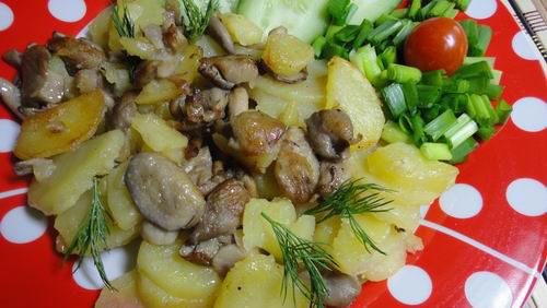 Вешенки с картофелем