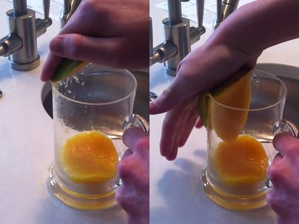 Удаление косточки с помощью стакана