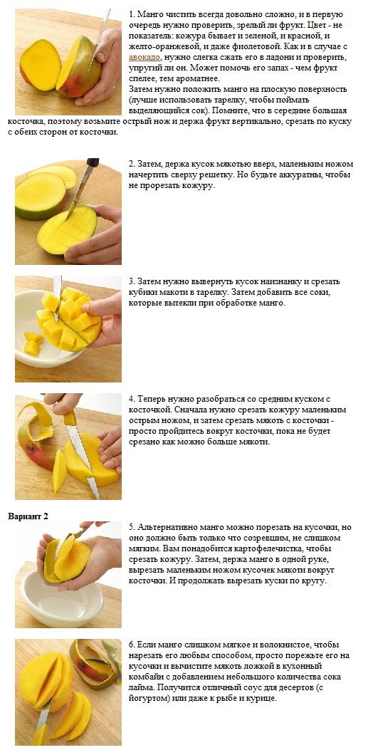 Варианты нарезки манго без косточки