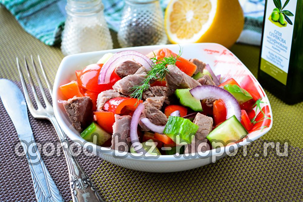 салат с отварной говядиной и болгарским перцем