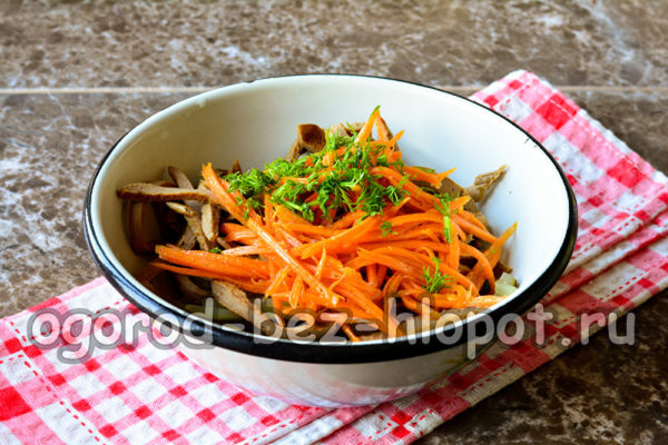 сложить в тарелку ингредиенты салата