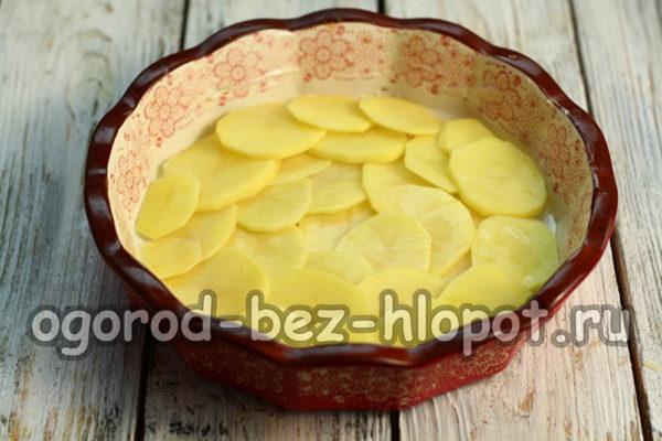 выложить слой картофеля в форму