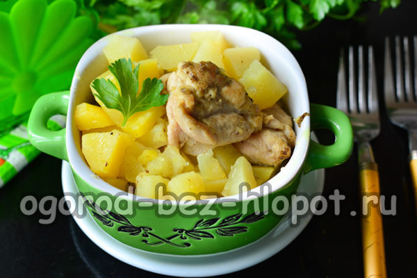 картошка тушеная с курицей готова
