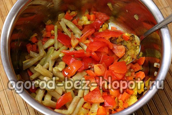 добавить фасоль и перец