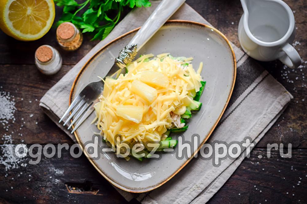 салат дамский каприз с курицей и ананасом