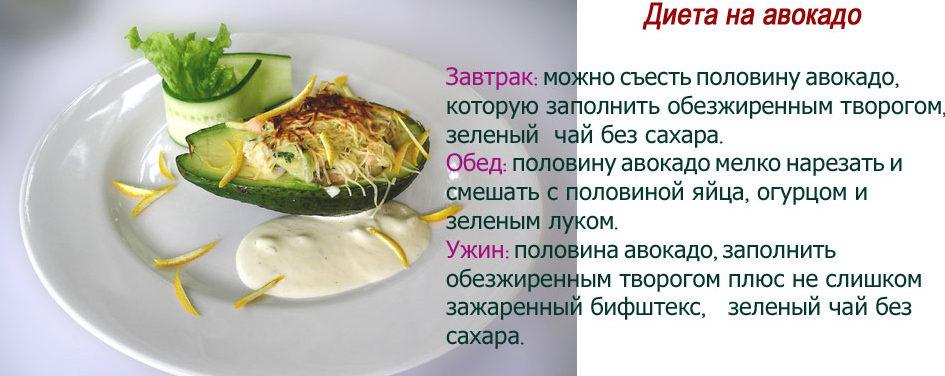 Рецепт диеты для похудения на авокадо