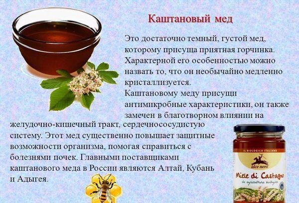 Свойства каштанового меда