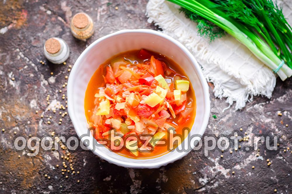 салат из кабачков, помидоров, перца, моркови и лука на зиму