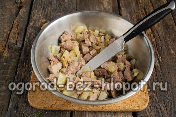 мясо с луком остудить