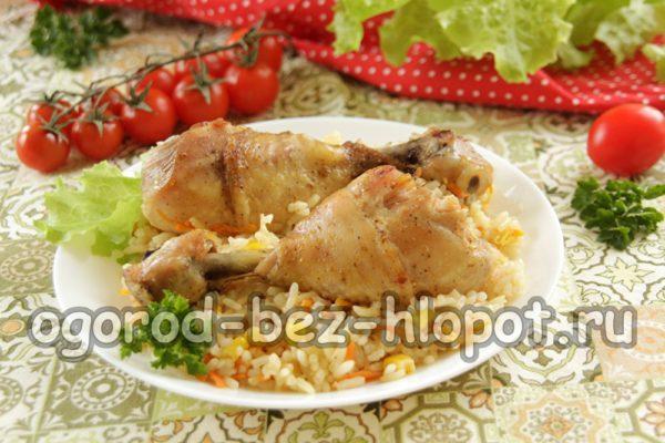 тушеный рис с курицей и овощами