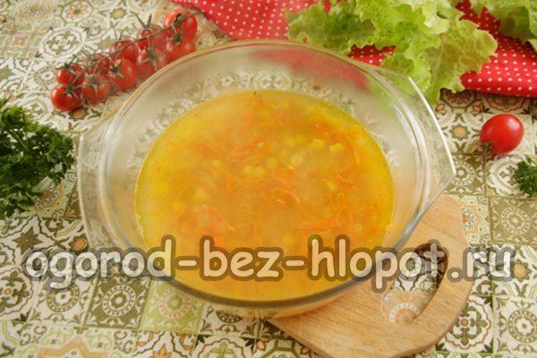 залить рис и овощи кипятком