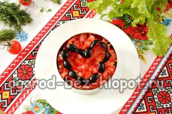 выложить сердце из маслин