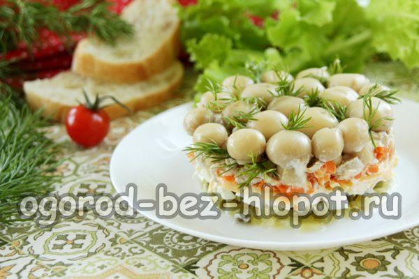 оригинальный салат с грибами