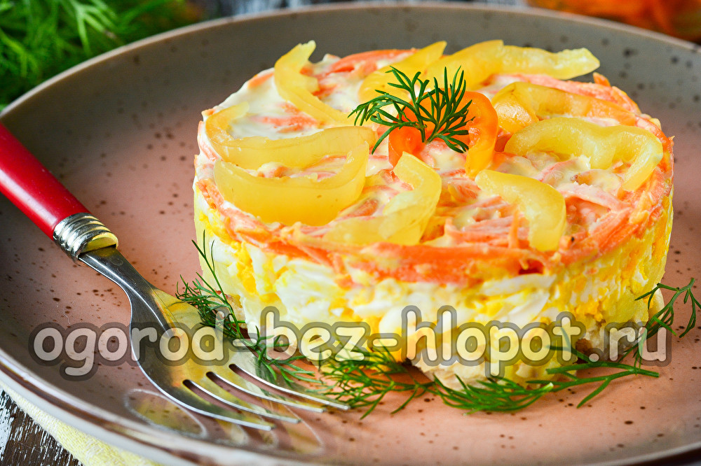 салат из моркови по-корейски с курицей и болгарским перцем
