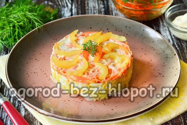 салат из моркови по-корейски с куриным мясом