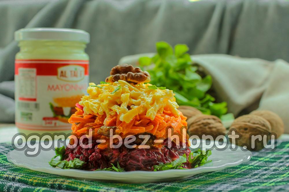 """салат """"Любимый"""" с грецкими орехами, свеклой и чесноком"""