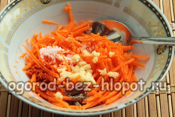 морковь, чеснок, специи