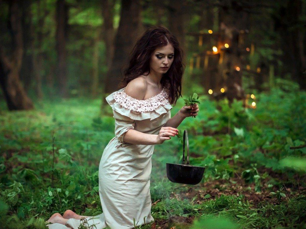 Колдунья собирает травы в лесу