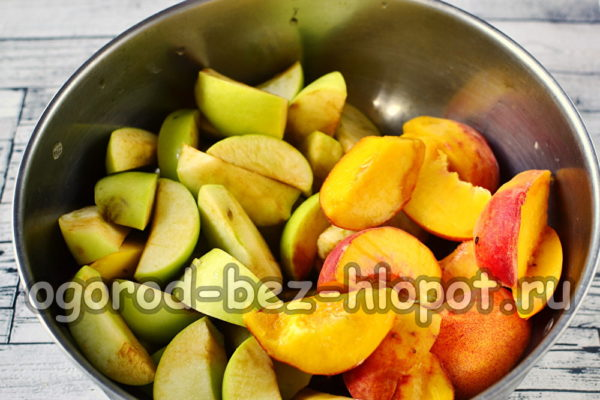персики и яблоки