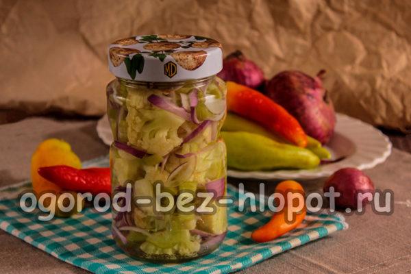 цветная капуста с болгарским перцем на зиму